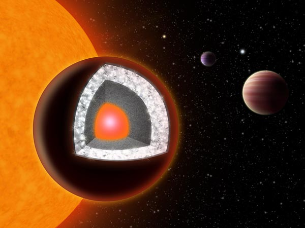 An illustration of 55 Cancri e shows a surface of mostly graphite surrounding a thick layer of diamond. Illustration courtesy Haven Giguere, Yale
