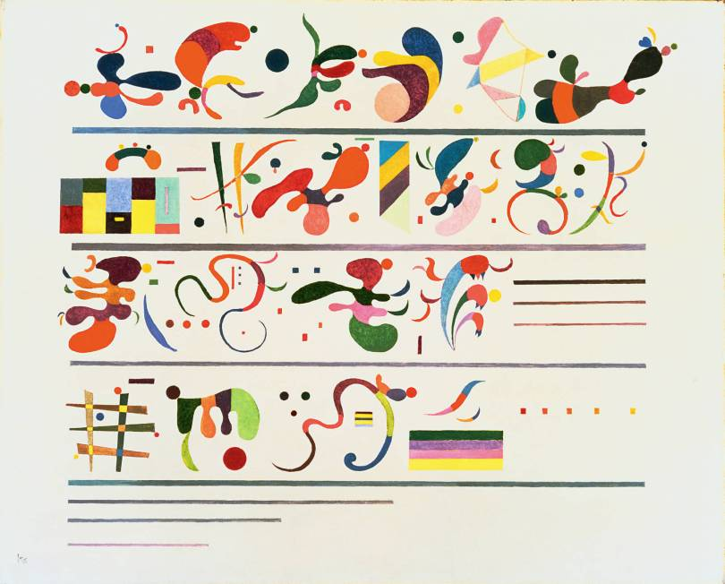 Wassily Kandinsky, Succession. Notice the emergent quality of the shapes--which resemble bacteria and organelles--, reminiscent of evolution.