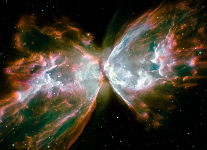 "The Butterfly Nebula (also known as NGC 6302): ""The structure in the nebula is among the most complex ever observed in planetary nebulae. The spectrum of NGC 6302 shows that its central star is one of the hottest stars in the galaxy, with a surface temperature in excess of 200,000 K, implying that the star from which it formed must have been very large."""