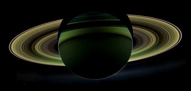 Another glorious view of Saturn delivered by Cassini. The sun is reflecting against its rings, made from the debris of an ancient moon.