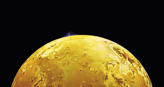 Speaking of moons, this one is Io, one of Jupiter's moons, spewing an 80 mile high plume of water ice and sulfur dioxide.
