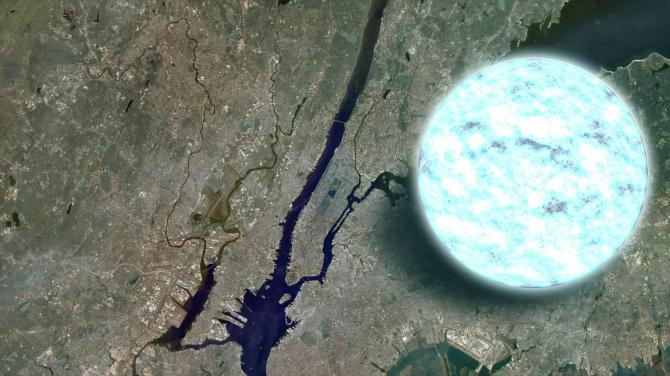 This an infographic of a neutron star, compared to the size of Brooklyn, NY. 300, 000 Earths can fit in its volume.