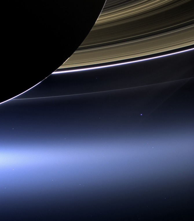 This one was taken by the Cassini probe weeks before leaving our solar system behind. Can you see Earth?